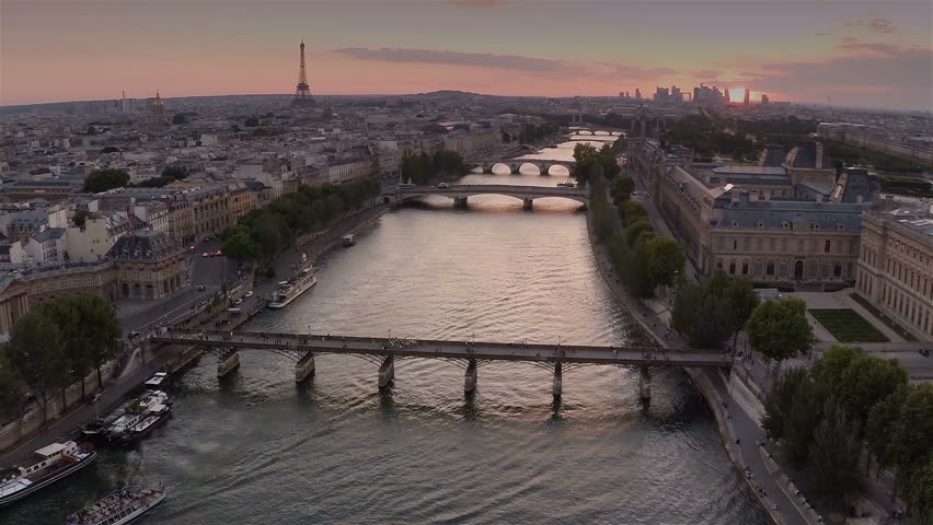 Aerial view of Paris during sunset | Shutterstock HD Video #8908492
