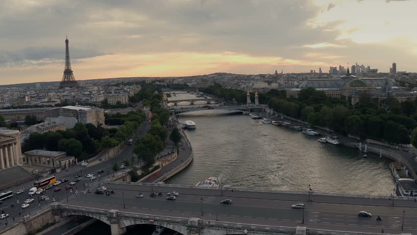 Aerial view of Paris during sunset | Shutterstock HD Video #8908519