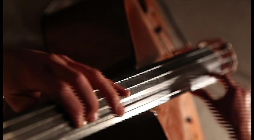 Contra bass player closeup #8910199