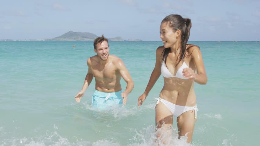 Beach People Having Fun Happy Running Into Water Going -7619