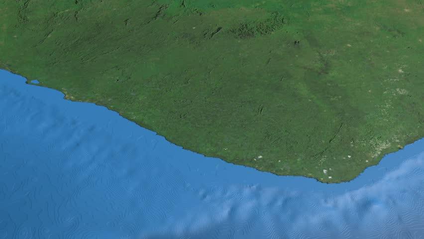Glide Over The Satellite Map Of El Salvador Country Area - Satellite image photo of el salvador
