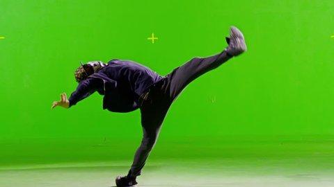 FEW SHOTS! Professional Hip Hop break dance. In mask. Dancing on Green screen. Few shots. Slow motion.