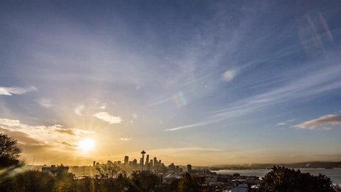 Time lapse of sunrise over the Seattle skyline at work.