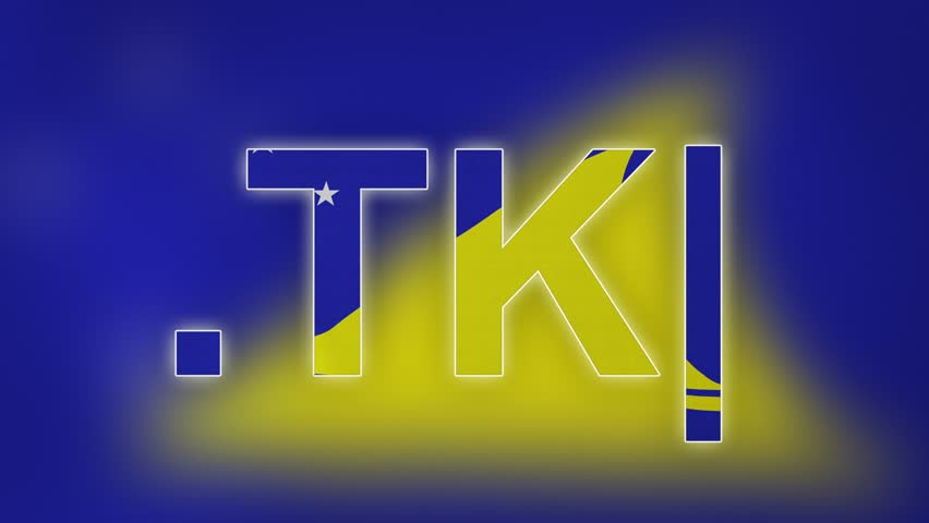 """TK - internet domain of Tokelau. Typing top-level domain """".TK"""" against blurred waving national flag of Tokelau. Highly detailed fabric texture for 4K resolution. Clip ID: ax1047c"""