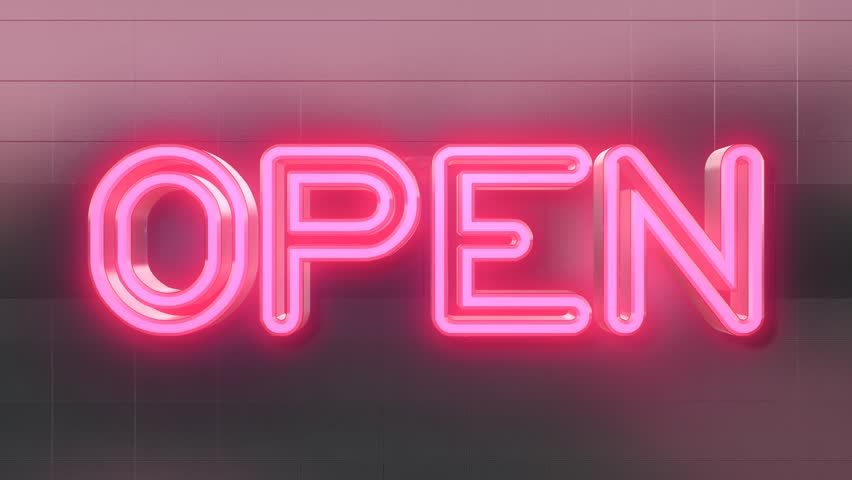 Pink Flashing Neon Sign - Open Stock Footage Video 9008419 | Shutterstock