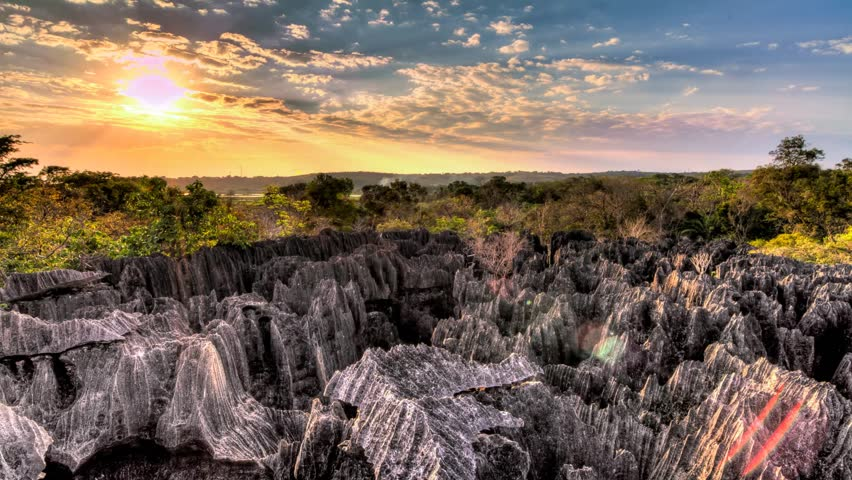 Beautiful Full HD HDR timelapse of the unique landscape at the Tsingy de Bemaraha Strict Nature Reserve in Madagascar at sunset