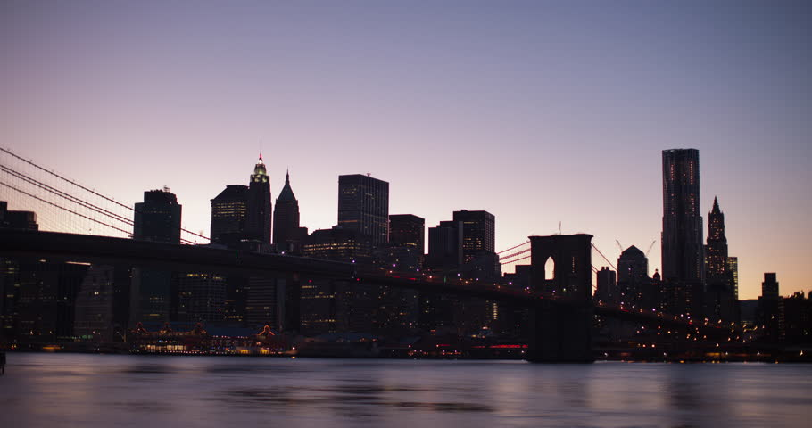 New York City timelapse of Midtown, Downtown Manhattan at sunset with Brooklyn Bridge, Empire State Building and Chrysler building in shot.  | Shutterstock HD Video #9047749
