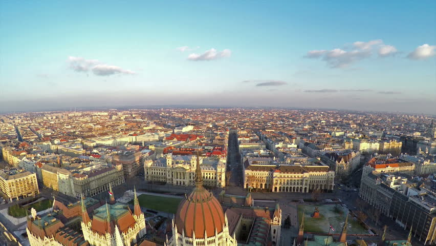 Camera flying above Hungarian parliament in Budapest