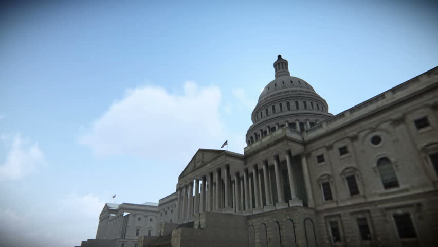 Tour airplane flying over The United States Capitol in Washington, DC