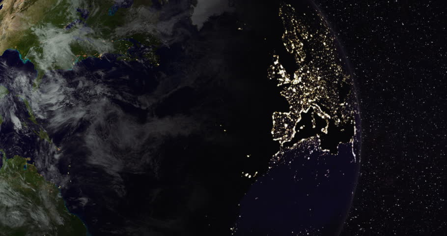 Planet Earth from space. Northern hemisphere close-up (America, Europe, Asia). Day and night city lights. Moving clouds. Steady starry sky background. Clip ID: ax1122c