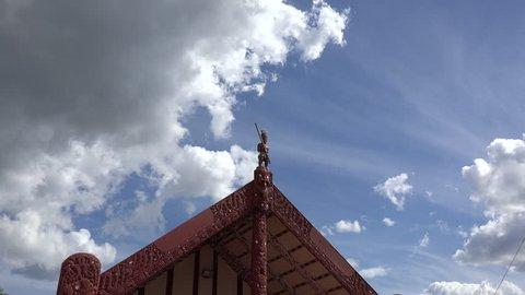 ROTORUA, NORTH ISLAND/NEW ZEALAND - JANUARY 22, 2015:  Maori meeting house. The marae (meeting grounds) is the focal point of Maori communities throughout New Zealand.