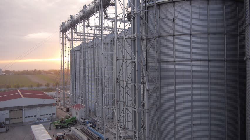 Aerial view of modern farm silo.