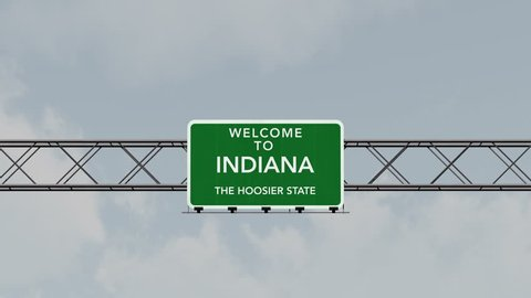 4K Passing under Welcome to Indiana State Border USA Interstate Highway Sign at Night with Matte Photorealistic 3D Animation 4K 4096x2304 ultra high definition