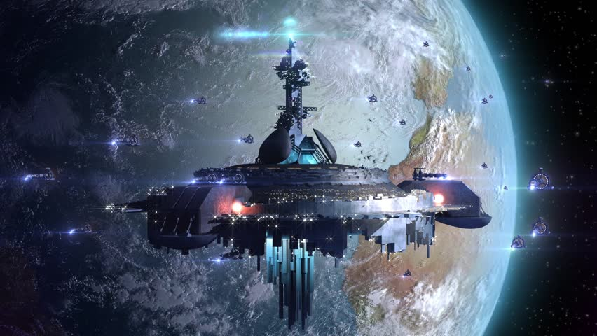 Alien UFO near Earth, surrounded by a drone like spaceship armada, for futuristic, fantasy or interstellar deep space travel backgrounds, rendered without depth of field or motion blur.