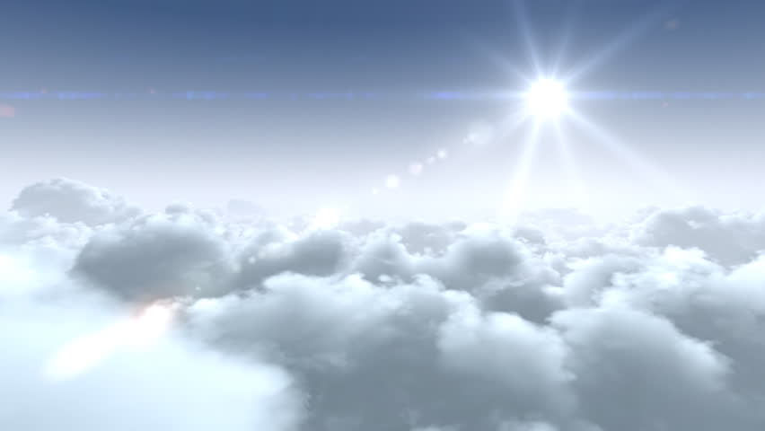 flight over clouds, loop-able 3d animation, hd