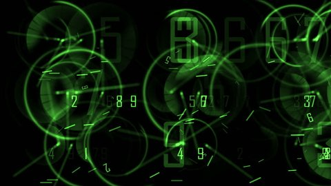 4k Circle round digit time clocks & digital wheels background,trade finance channel,stopwatch pointer space,contests games competition tunnel,mystery focus backdrop. 0490_4k