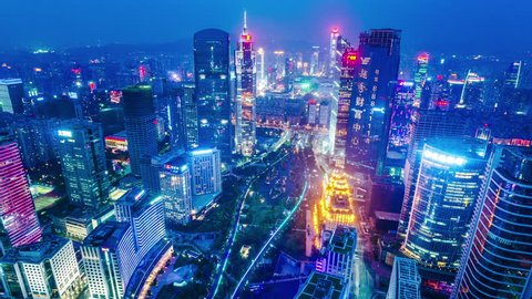 Guangzhou, China.  Magnificent high angle night timelapse of the central business district. Extraordinary and splendid zoom out shot. Date: March 1, 2015. Location: Guangzhou, China.