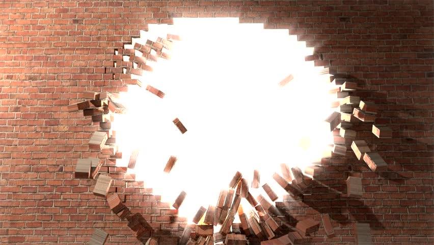 Stock Video Of Brick Wall Break Through Demolish Smash