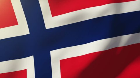 Norway flag waving in the wind. Looping sun rises style.  Animation loop