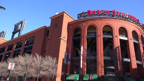 ST. LOUIS, MISSOURI - CIRCA 2015 - Establishing shot of Busch Stadium in St. Louis.