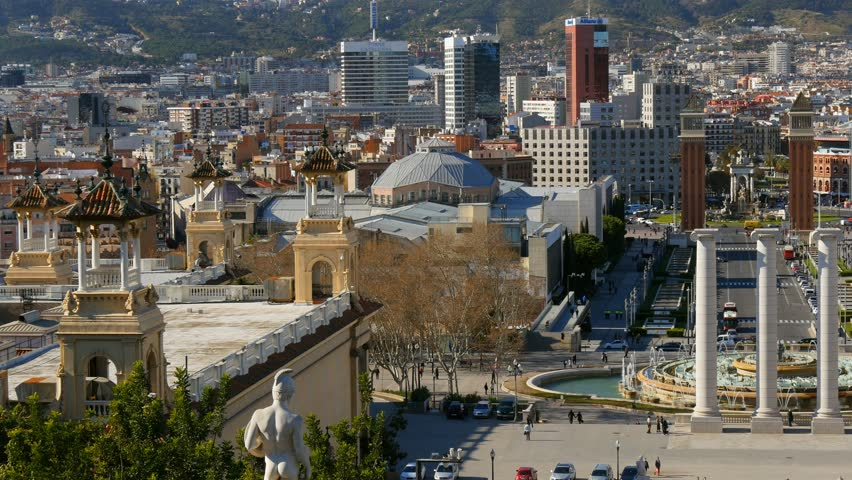 Panning shot of of Placa De Espanya (Square of Spain). Barcelona, Spain