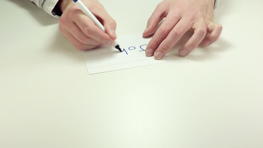 Man Hands Write The Word Right On White Paper Sheet. After That ...