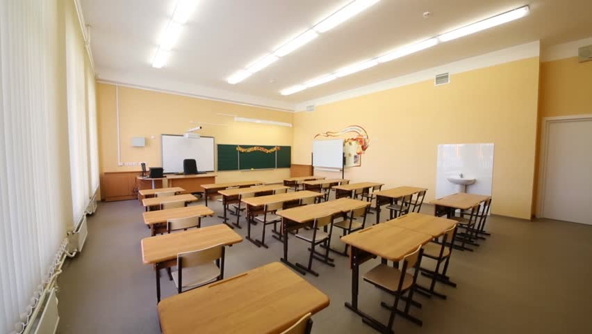 New modern school classroom with chairs on desks at sunny day stock footage video 9310502 - Great contemporary school furniture ...