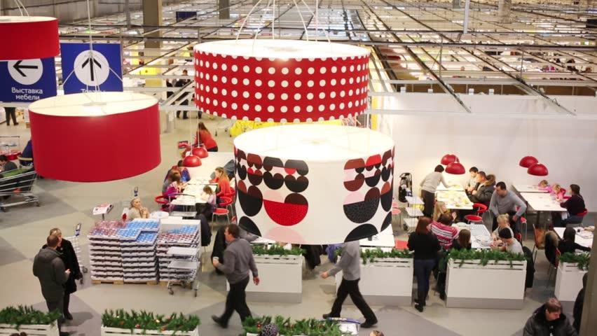 samara russia jan 05 lamps and food court in ikea in