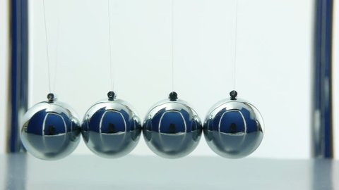 Newton's Cradle over white background with sound. Desk toy pendulum being activated.
