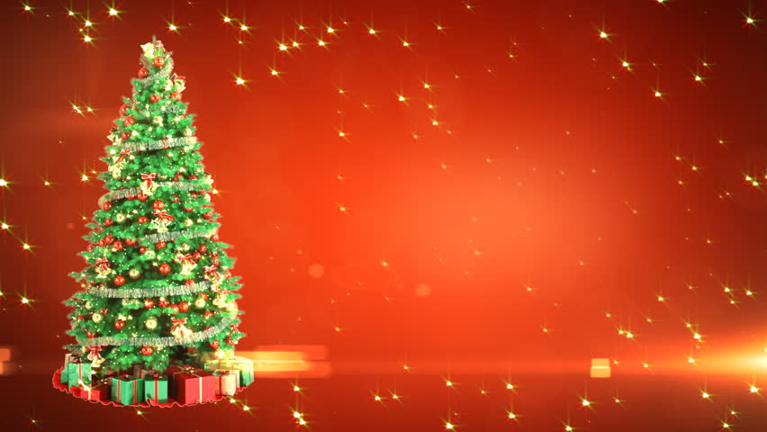 Christmas greeting card with shining christmas tree and small christmas tree on red background with place for your text loop hd stock footage voltagebd Image collections