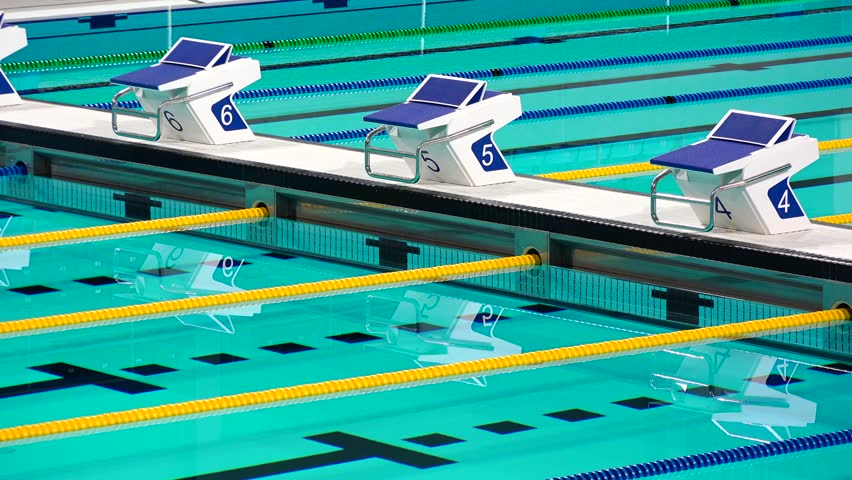 Olympic Size Swimming Pool With Lanes Stock Footage Video