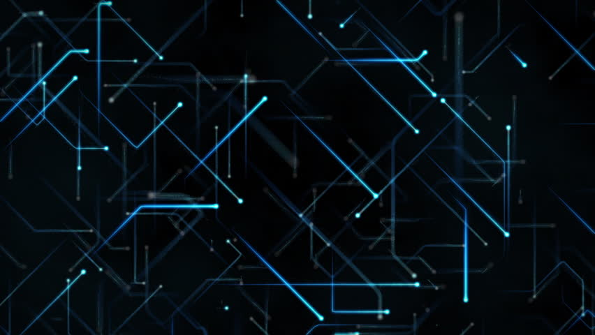 Neon Circuits Wallpaper And Background Image: Abstract Background With Moving Black Hexagons With Blue