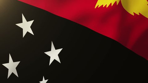 Papua New Guinea flag waving in the wind. Looping sun rises style.  Animation loop