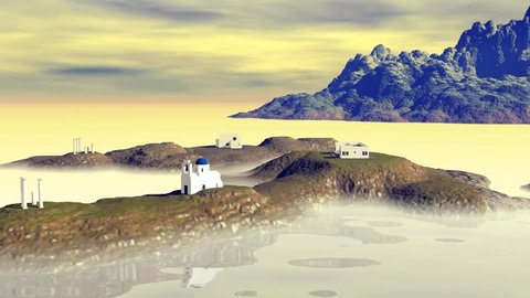 Animation on the island with white houses, the church and bell tower, there is fog on the water and a red shadow on the horizon.