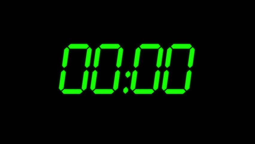 Digital Countdown Timer In Green Color Over Black