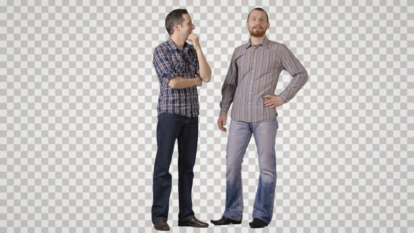 Two men in casual stand side by side, discuss, laugh. Front view. Footage with alpha channel. File format - mov. Codeck - PNG+Alpha Combine these footage with other people to make crowd effect