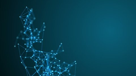 Abstract molecular structure in 3D space on dark blue background. Looped animation