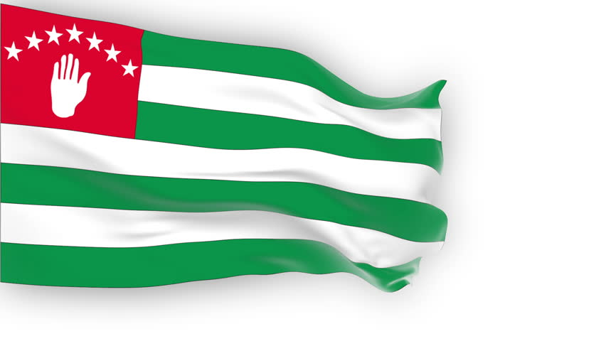 Abkhazia Flag slowly waving in the wind. Silk material. Pure white background. Seamless, 8 seconds long loop.