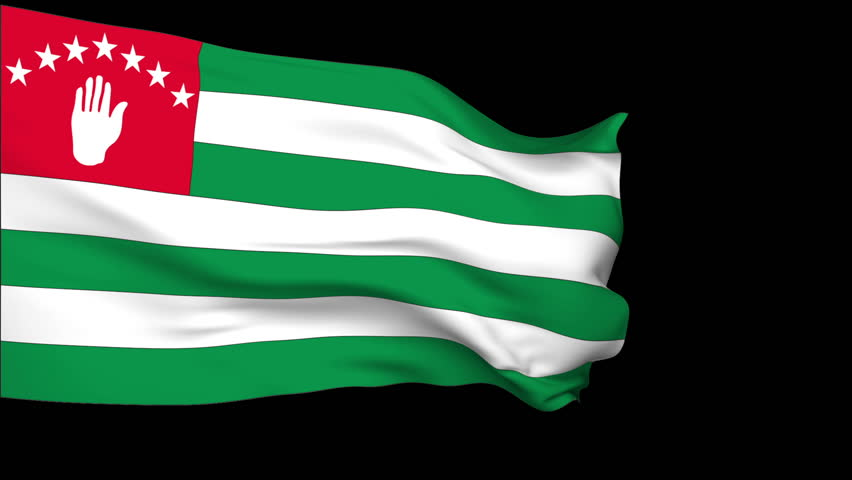 Abkhazia Flag slowly waving in the wind. Silk material. Black background can keyed by alpha. Seamless, 8 seconds long loop + alpha. Usable for composing.