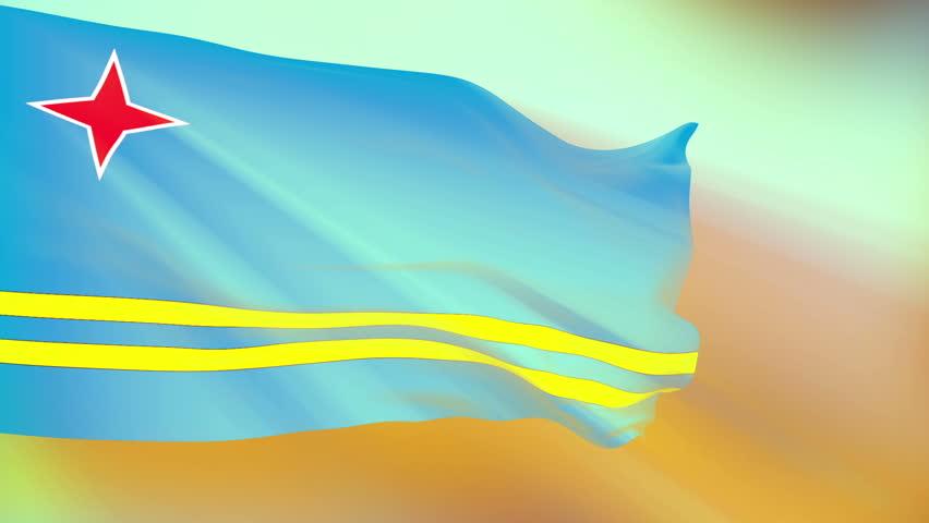 Aruba Flag slowly waving in the wind. Silk material. Glowing. Seamless, 8 seconds long loop. | Shutterstock HD Video #953269