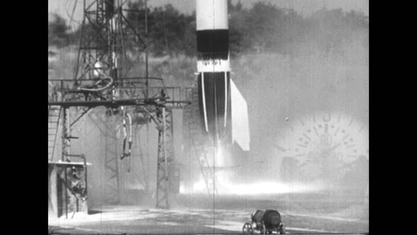 GERMANY 1940s - A rocket fails to launch and crashes to the ground. | Shutterstock HD Video #9554699