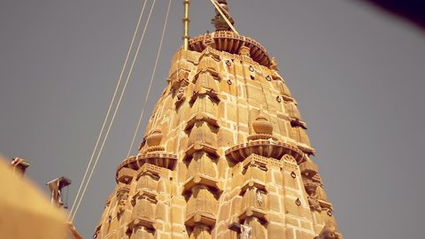 Dome and sculptures of a Jain temple in Jaisalmer, Rajasthan, India. Tilt shot with shallow depth-of-field.