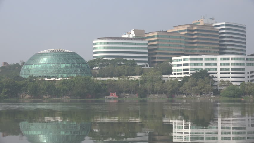 Modern office buildings in the HITEC area, a technology district in Hyderabad, India.