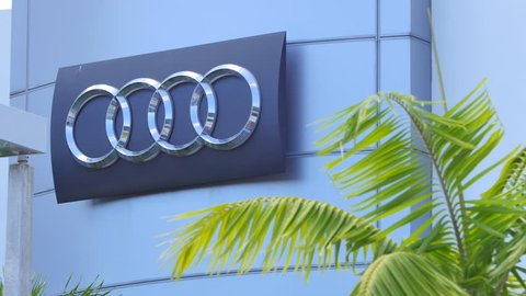 MIAMI - APRIL 6, 2015: Video of an Audi Dealership in Miami FL displaying the audi logo. Audi is a German luxury auto manufacturer founded by August Horch in 1932 April 6, 2015 in Miami FL