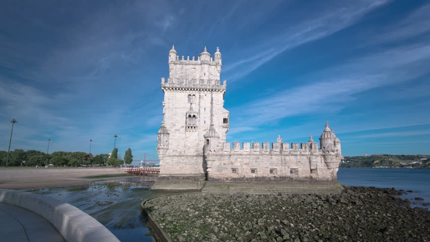 Belem Tower is a fortified tower located in the civil parish of Santa Maria de Belem in Lisbon, Portugal timelapse hyperlapse with clouds 4K