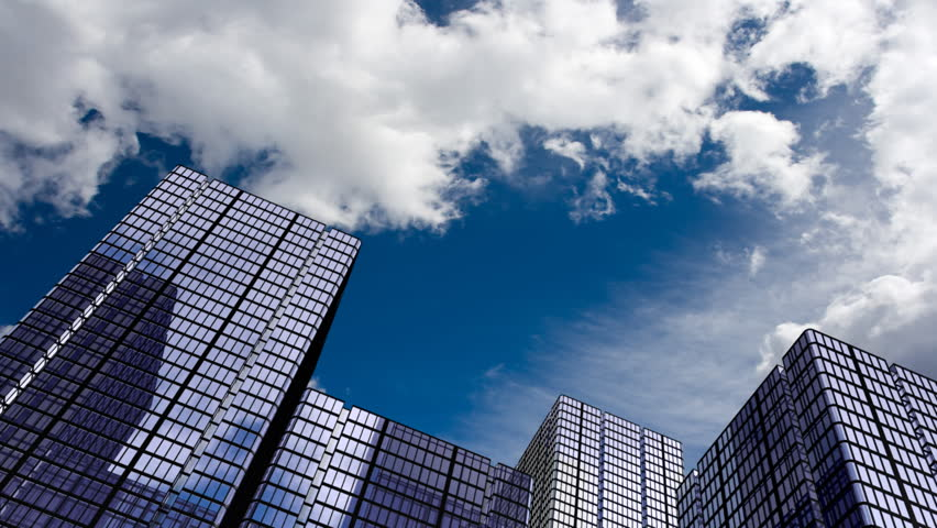 Corporate buildings and time lapse clouds. HD 1080 version.