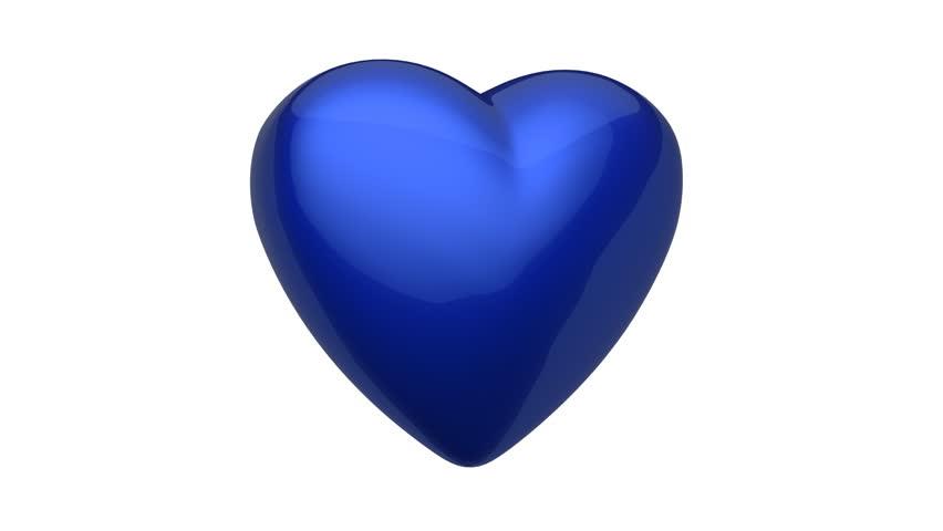 blue heart rotating 4k render stock footage video 100