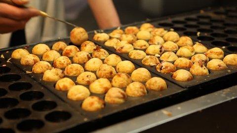 Man Cook Chef Turn Meat Balls Sphere Dumplings Japanese Meals Street Fast Food