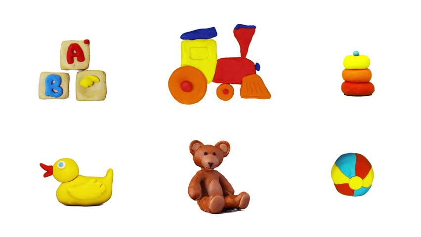 Kids plasticine signs, 6 in 1 set. Stop-motion animation. Include alpha matte.