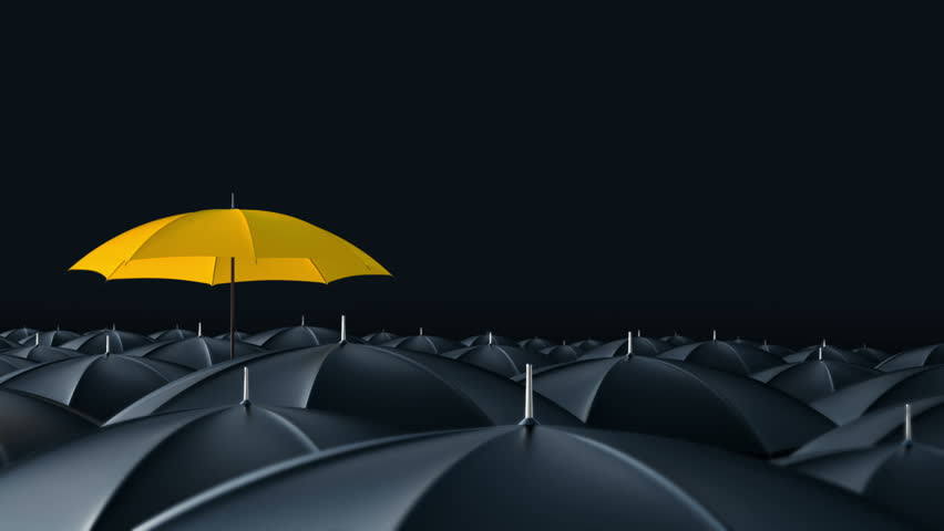 Yellow umbrella open and standing out from crowd mass black umbrellas, design background text concept